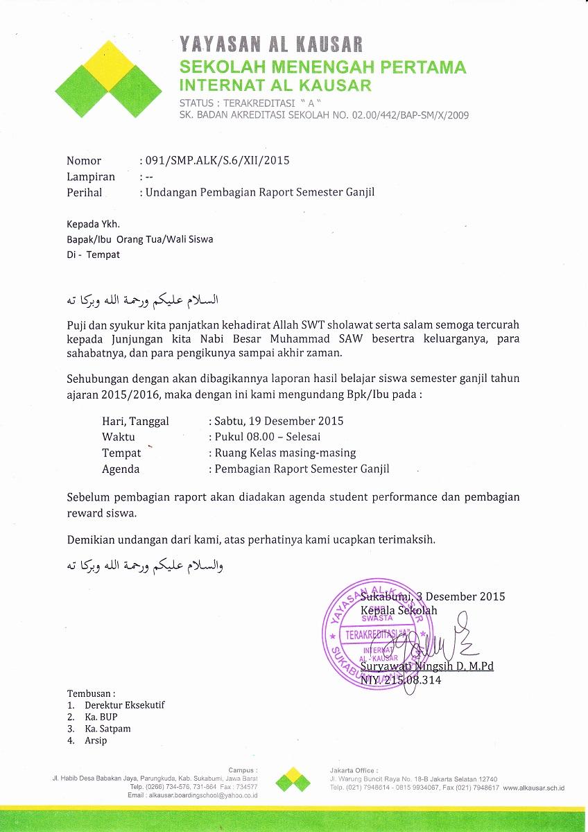 Surat Pembagian Raport Smt 1 SMP