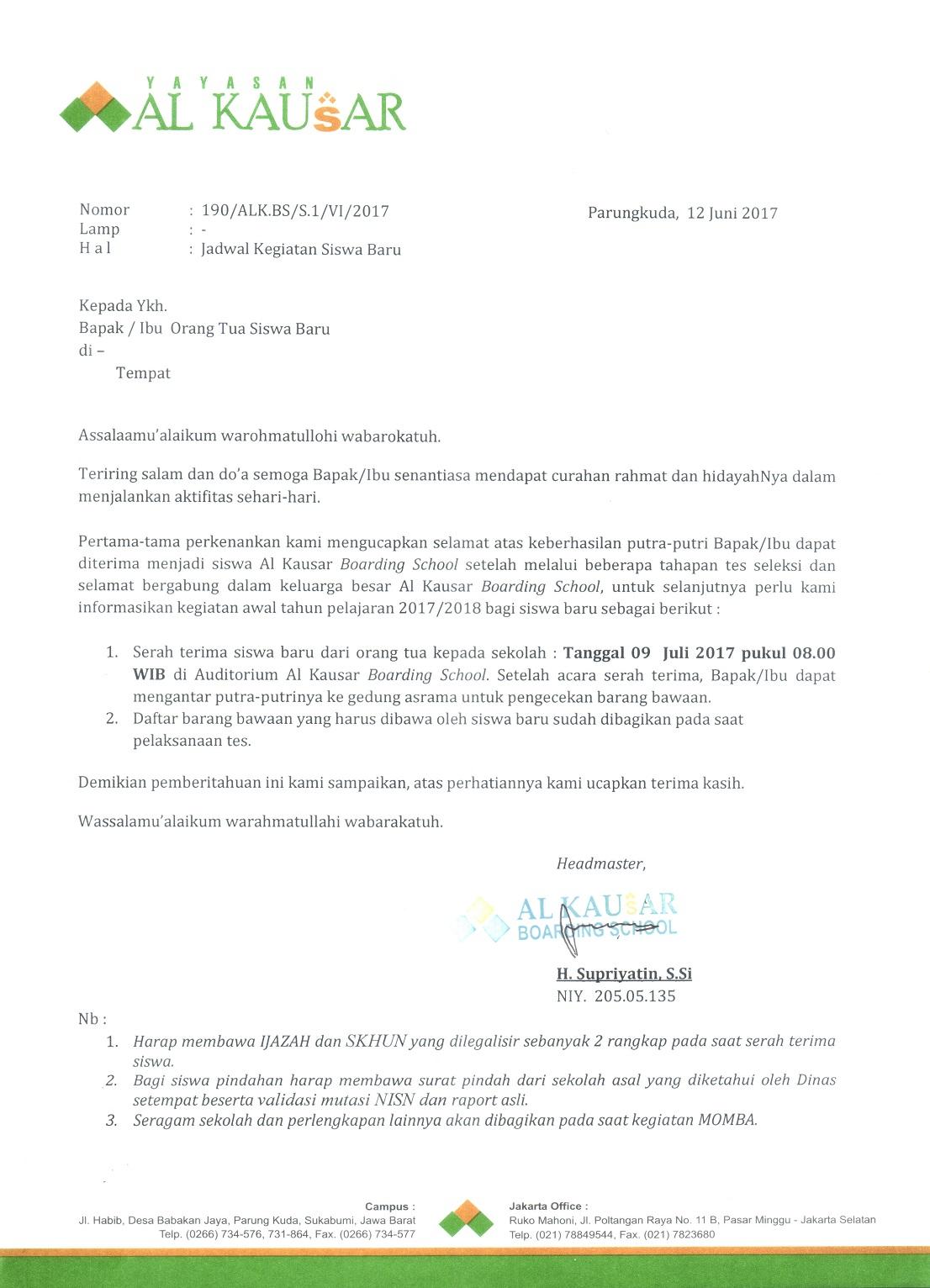Surat edaran siswa baru